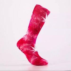 Tie Dye Pink 💗 Leaf Print Socks (NEW)